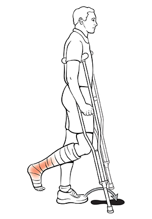 Side view of man using crutches with arrow showing where to put foot for the swing to technique.