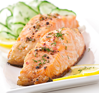 Salmon steaks on a plate